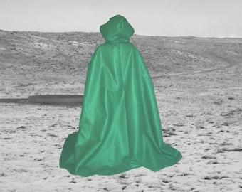 Cloak  Hooded Cape Green Hooded Felt - Halloween Costume - Renaissance Medieval - Wedding