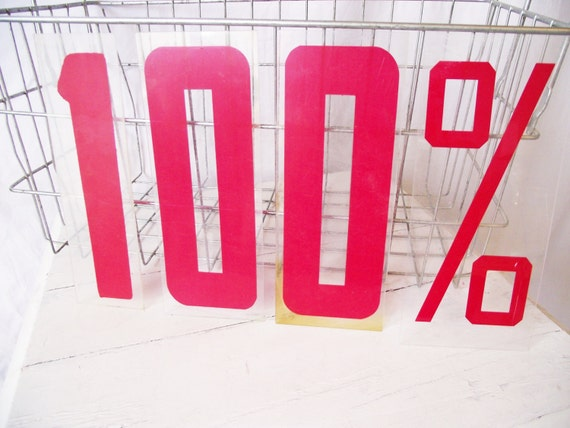 Vintage Sign Numbers - One Hundred Percent - Industrial Plastic Red Numbers