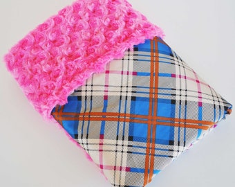GORGEOUS NEW DESIGN.......... Hot pink minky with Blue Plaid satin ...........Beautiful unique  Baby blanket