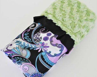 CLEARANCE SALE / NICOLLA  Mini blanket / Lilac and black pasiley satin print with Avocado minky swirls..... Very unique baby shower gift