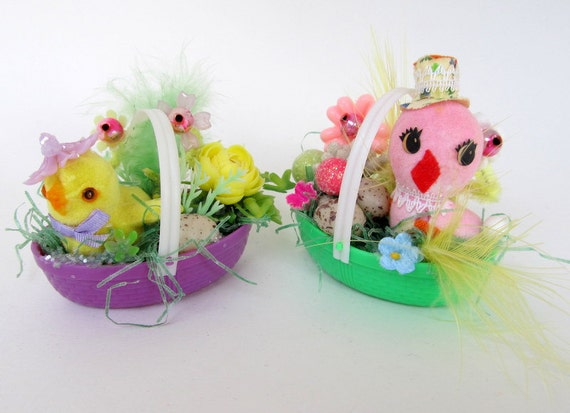 Vintage Easter Bakets  Set of 2 Decoration or Ornament