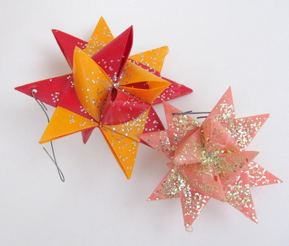 Vintage moravian wax paper star ornaments with glitter set of 2 pink