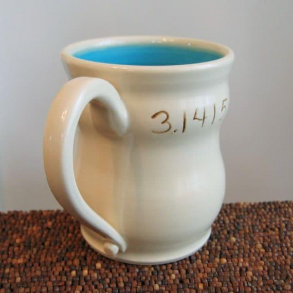 Pi Mug in Turquoise - Large Stoneware Pottery Ceramic Coffee Mug for Geeks - 18 oz.