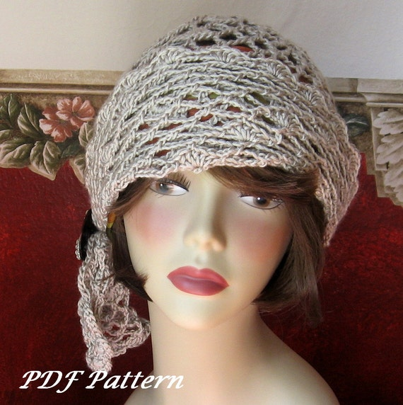 Crochet Pattern  Womens Flapper Hat Open Mesh Motiff With Draped Trim Instant Download