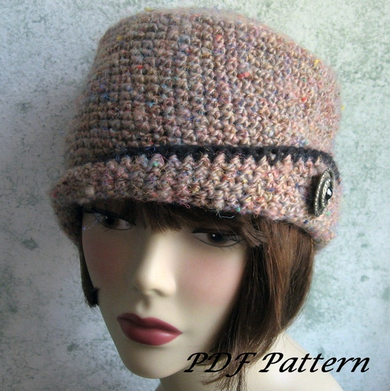 Crochet Pattern Womens Crocheted Hat With Close Fitted Brim PDF May Resell Finished Digital Download