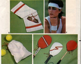 Vintage Butterick 6815 Retro Sports Tennis Racquetball Accessories Sewing Pattern Uncut