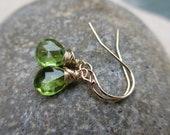 Peridot Gold Earrings, August Birthstone Earrings, Green Earrings, Wire Wrapped, Small, Drop, Simple, Irisjewelrydesign