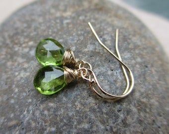 Peridot Gold Earrings, August Birthstone Earrings, Green Earrings, Wire Wrapped, Small, Drop, Simple, Irisjewelrydesign