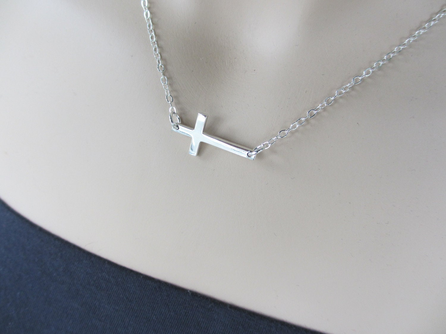 sideways cross necklace sterling silver cross necklace. Black Bedroom Furniture Sets. Home Design Ideas