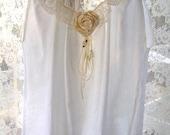 Summer Prairie, Victorian, Pixie White Magnolia Top Ivory Pearl Ribbon Brooch