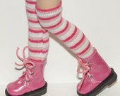Tall Shades of Pink Striped Socks For Blythe...One Pair Per Listing...