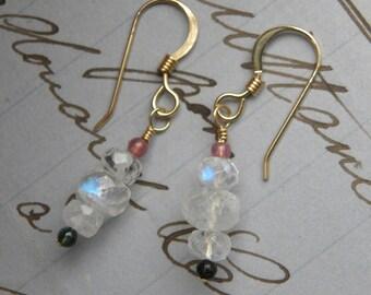 Dainty rainbow moonstone and tourmaline dangle earrings