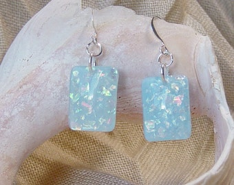 Opalescent Blue Bead Earrings, Blue Resin Bead Earrings, Silver Drop Earrings, Rectangular Bead Earrings, Beach