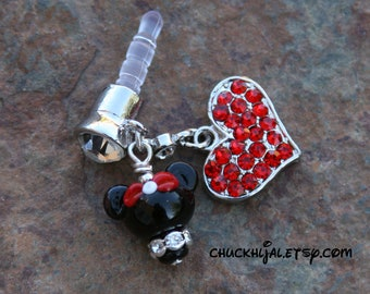 Dust Plug Minnie Mouse Style Disney Inspired Dangle DeSIGNeR Cell Phone Charm iPod iPad iPhone Protector