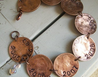 7th Anniversary Copper Bracelet Personalized Jewelry for your Love