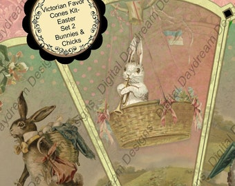Instant Download Digital Printable Easter  Victorian Favor Cone Kit Set 2 - Chicks and Bunnies