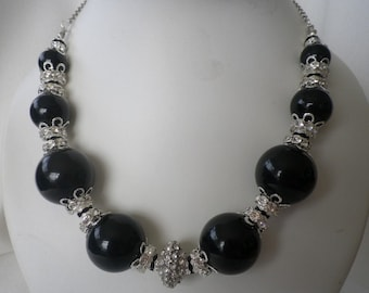 SALE Luxury Black Silver and Pave Rhinestone Necklace and Earrings