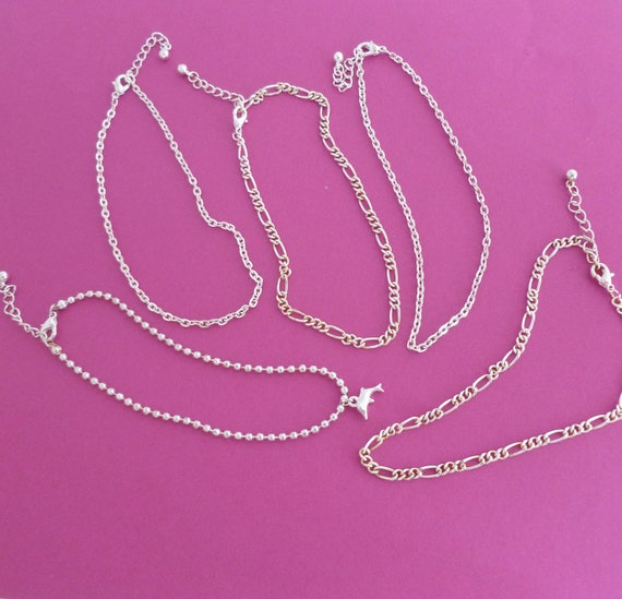 Silver tone and gold tone chain bracelets - set of 5