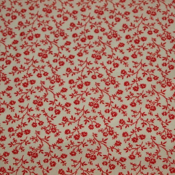 RESERVED FOR DEBRA vintage 80s cute cotton fabric, featuring sweet red floral design, 1 yard