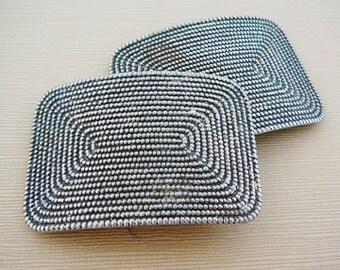 Vintage .. Buckles, Steel Silver Tone pair Rectangle Altered art