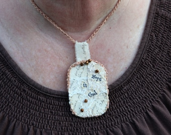 Hope in God Fiber Art Necklace Pendant Beige Neutral Beaded Free Shipping in the US
