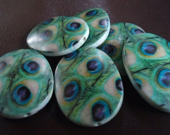 Oval Peacock Feather Print Acrylic Beads, 34mm x 24mm x 7mm  - 6x