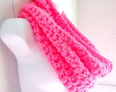 "Hot Pink Scarf Cowl-  Extra Large Chunky Scarf  Bright Pink, Neon Pink, ""Buy one get one 50% off lowest price"""