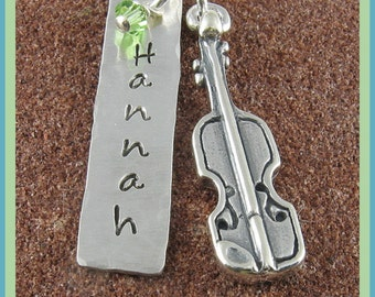 Violin Pendant/ Personalized Sterling Silver Hand Stamped Pendant with Violin Charm/Violin Jewelry