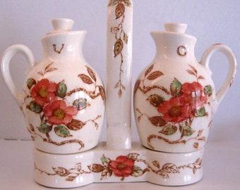 Vintage Nasco Springtime Oil and Vinegar Bottles in Tote Rose Floral