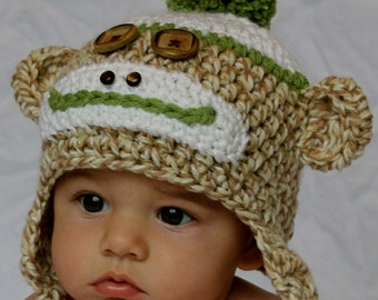 Boys Sock Monkey Hat with Top Pom Pom - Green Tan - Sizes 3-6 months