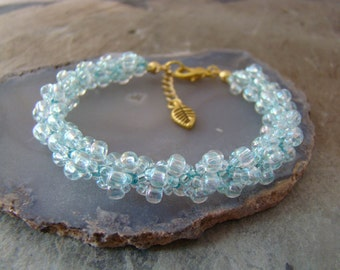 Sale Item   Spiral Weave Beaded Bracelet                        Bridesmaid Gift or BIRTHDAY - Aquamarine MARCH     1.99 Shipping USA