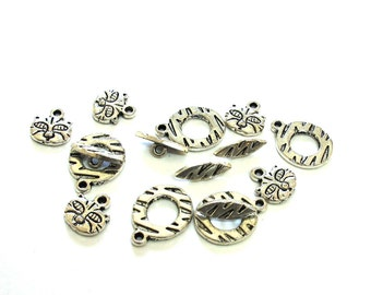Antiqued Silver Cat/Tiger Toggle Clasps with Charms, Set of 5, 1039-38
