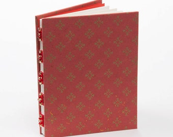 Red and gold journal, handmade notebook, gift under 15, diary