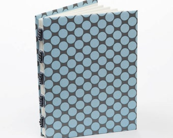 Blue polka dots handmade journal, blue and gray, blank book, memory book