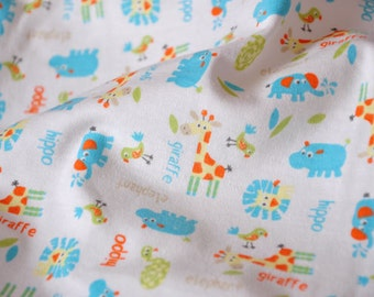 3071 - Animals Cotton Jersey Knit Fabric - 70 Inch (Width) x 1/2 Yard (Length)