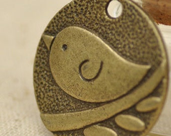 3pcs 23.5x24mm antique bronze bird charms pendants (J323)