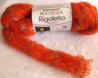 Boutique Rigoletto yarn, tangerine orange with metallic and sequins,  chunky weight arm knitting yarn, Red Heart Yarns