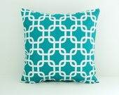 Turquoise Pillow Cover Decorative Pillow Cover Size Choice Nautical Pillow