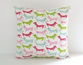 Childrens Pillow Cover Pink Green Dogs Dachshund 20x20 Decorative Pillow Nursery Decor