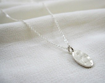 Simple Sterling Silver Necklace /Silver Disc Pendant Necklace /Hammered Silver Necklace