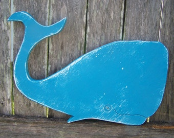Wooden Whale 17x12 inches Distressed in Bright tropical Blue Coastal and Nautical Boys Decor