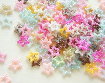 100 pcs Pearly Star Pearl Flakes/Gems/Rhinestones (11mm)  Mixed Colors AA004