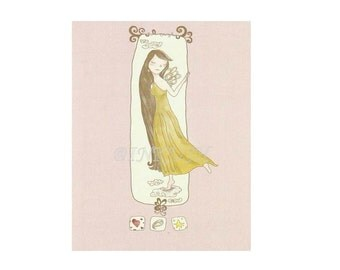 "Love Blank Greeting Card Art Print Illustration 4x6""  in Blush Pink and Mustard"