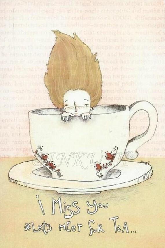 I miss you, Blank Greeting Card , Print Illustration by EfiWarsh