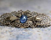 Blue Hair Barrette with Vintage Glass
