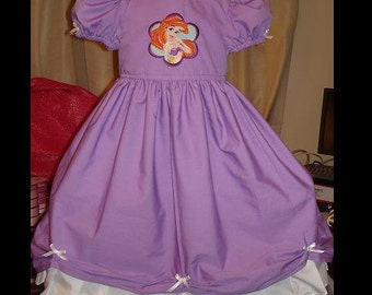 Disney's Little Mermaid Inspired dress(-----)Ariel Embroidery(-----)Custom sized(-----)Sizes 12 Months to Girls size 8
