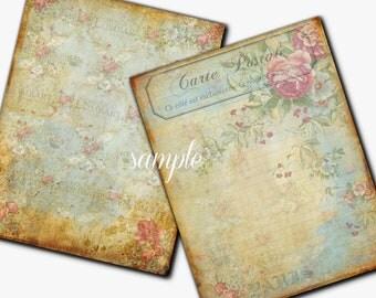 Instant Download 8.5x11  Antiqued Dreamy Papers - Set of 2 -  Printable Digital Collage Sheet - Digital Download Scrapbooking