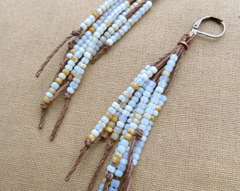 Vegan Feather Hemp Natural Earrings - Copper and Glass - Hippie Bohemian