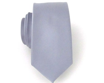 Mens Skinny Tie - Grey Silk Mens Skinny Necktie With Matching Pocket Square Option