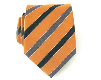 Mens Tie - Neck Tie Mikado Yellow Black and Grey Striped Necktie